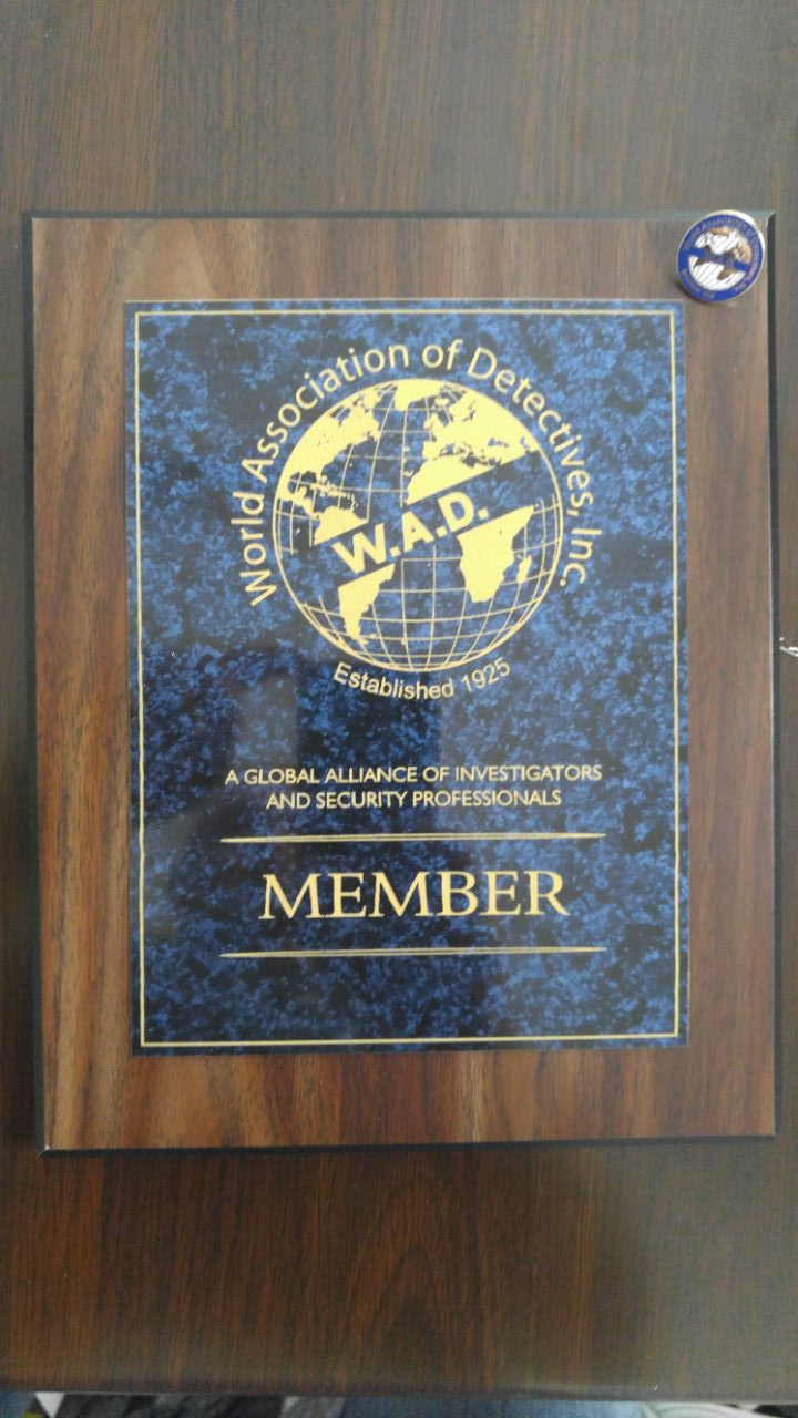 World Association of Detectives (WAD) member certificate